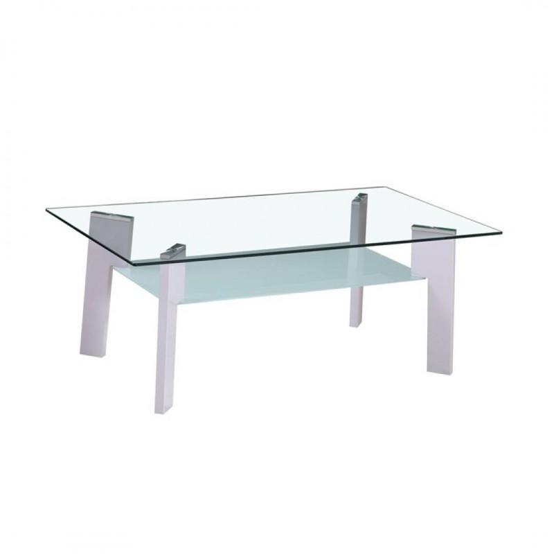 Glazen salontafel en s benen Grijs