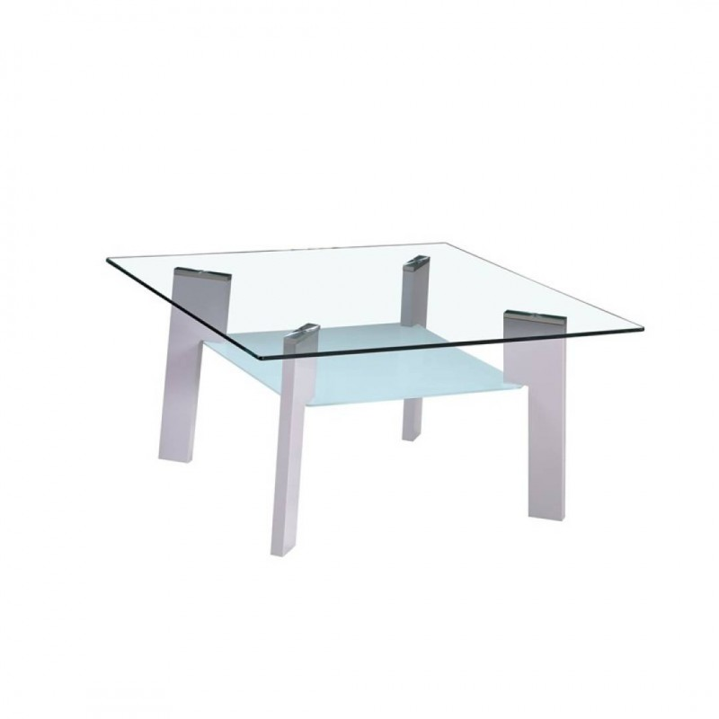 Chic coffee table in tempered glass Grey legs