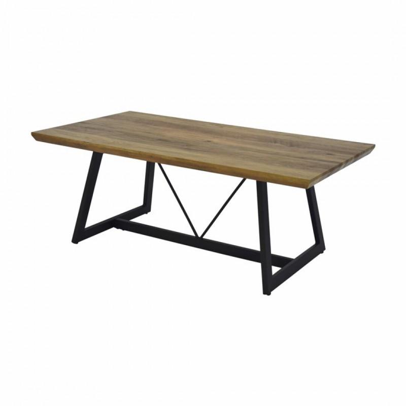 Industrieel design salontafel in hout en metaal