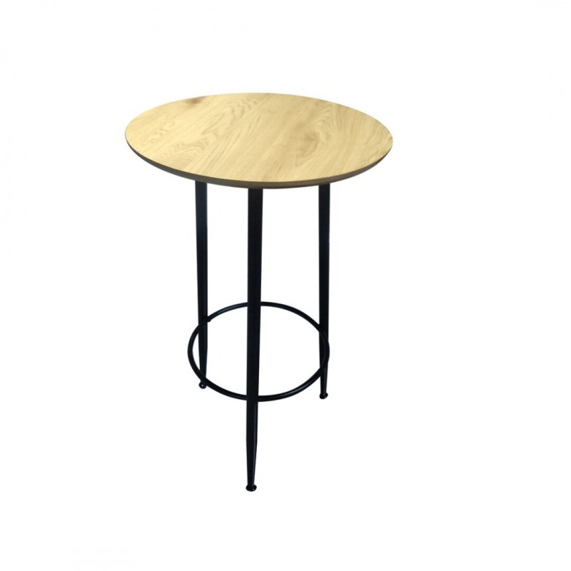 Round Wooden Standing Eating Table D60xH103cm Black Legs