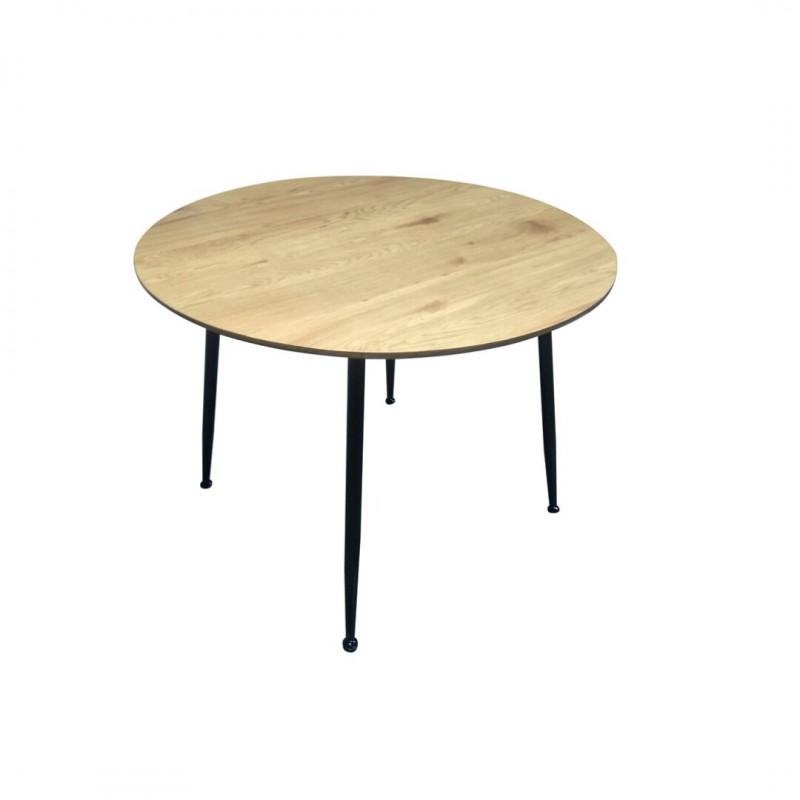 Adus Table A Manger 4 Personnes Ronde Bicolore Effet Couleur Bois