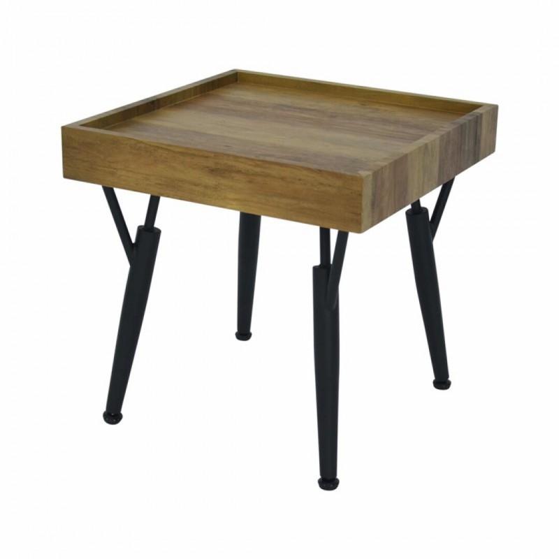 Wood and black metal side table