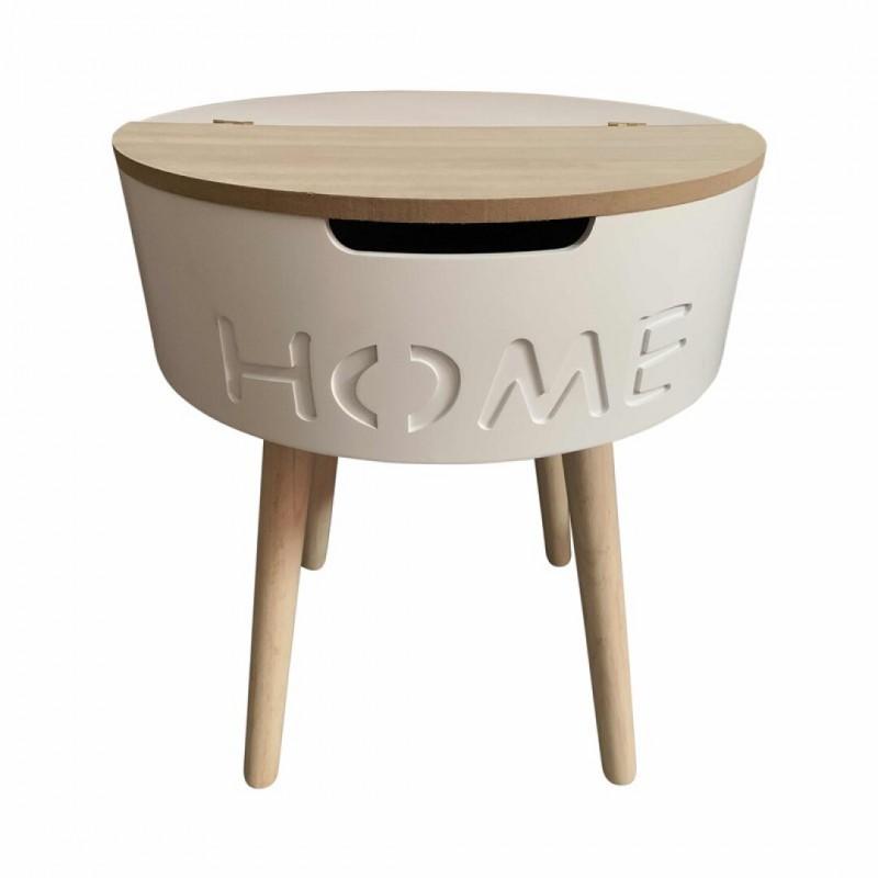 Table d'appoint en bois avec tiroir Blanc