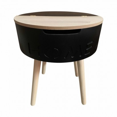 Wood side table with Black...