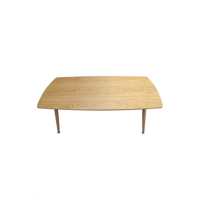Coffee table entirely rectangular wood.