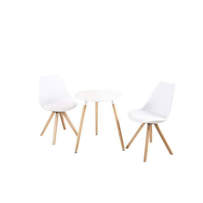 Witte ronde tafel ideaal voor 2 personen in Scandinavische stijl