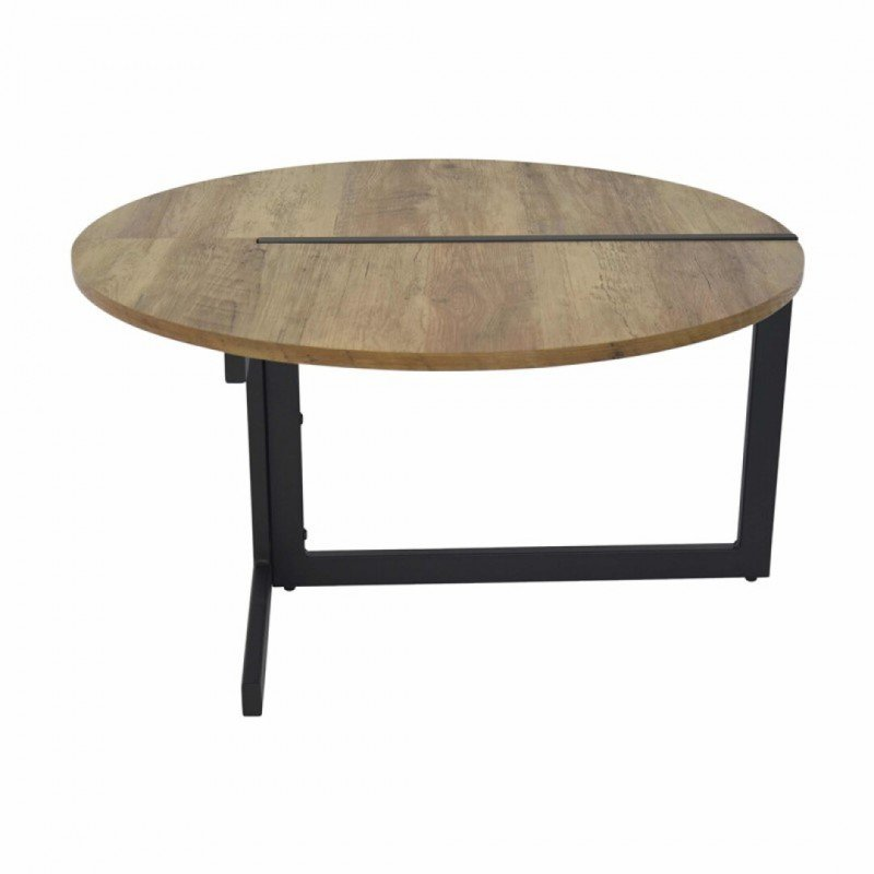 IDA Wooden Coffee Table with Black Legs in industrial style
