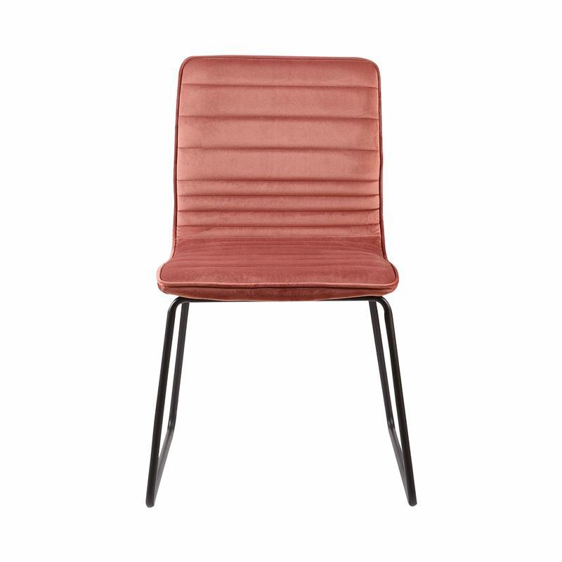 UZTO Chaise en velours et Pieds métallique Noir