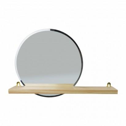 Miroir avec étagère en bois