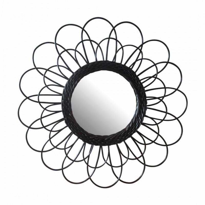Miroir en rotin naturel Noir