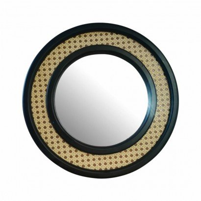 Rattan Mirror Round Black