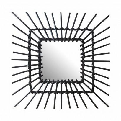 Rattan Mirror Square Black