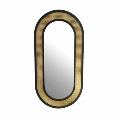 Black Oval Mirror in Rattan