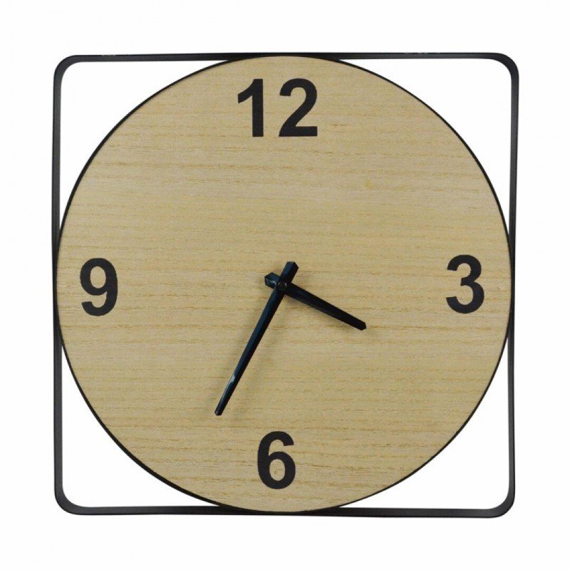 Horloge carré en bois et...
