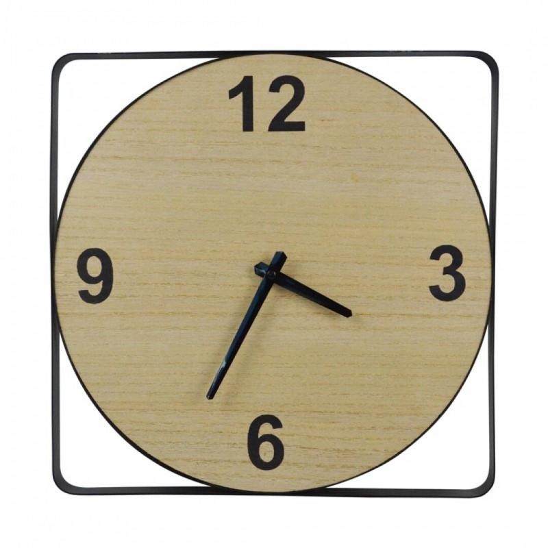 Wall Clock in Wood and Black Metal