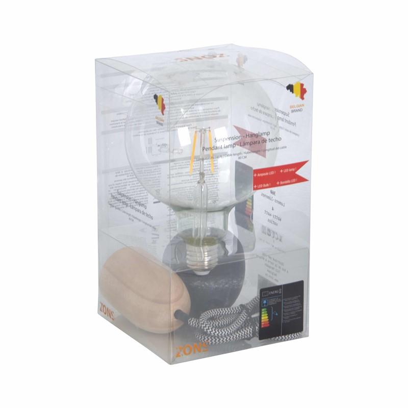 Ophanging + LED-lamp GM BLACK CABLE 80 cm KDO doosje