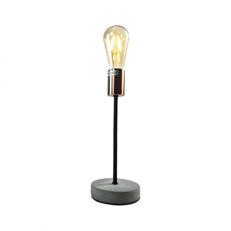 Lampe métal couleur cuivré base cimentée+ Ampoule LED Copper