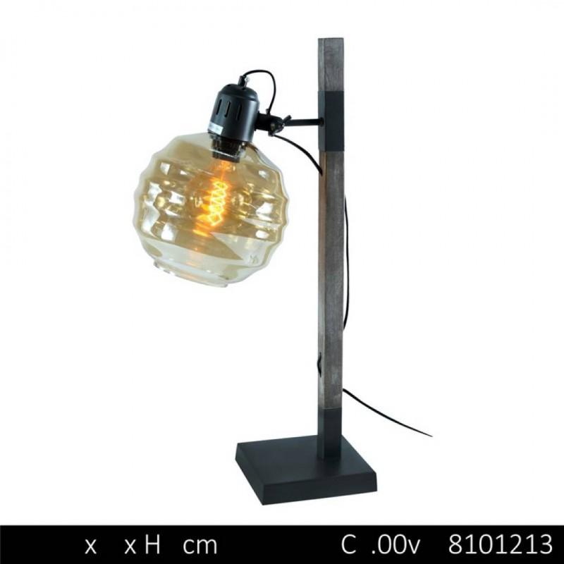 Tafellamp industrie + lamp EDISON zwart
