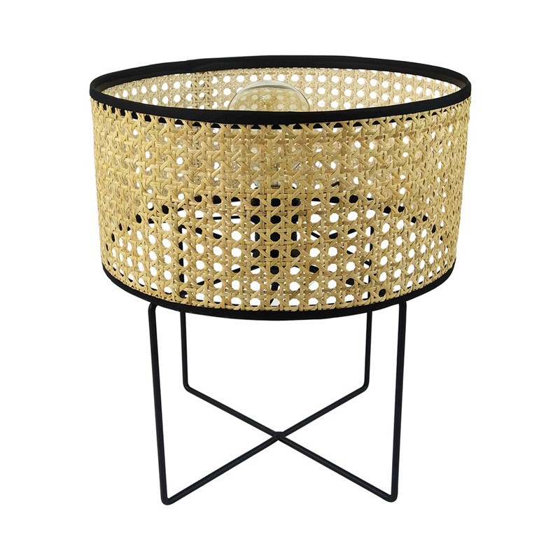 Table lamp in natural wicker cane rattan