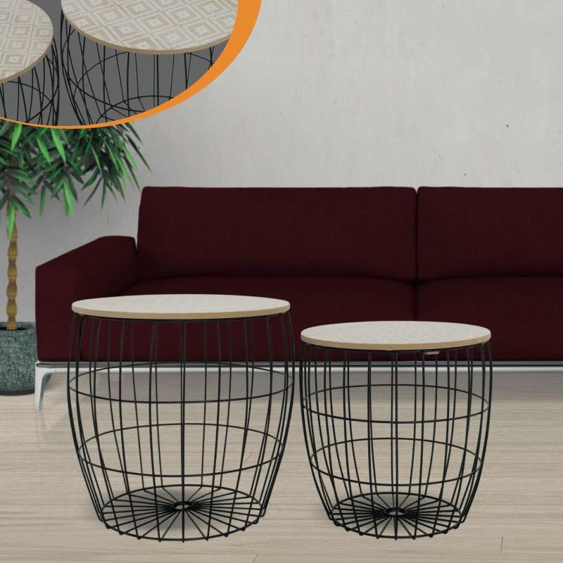 KORA set of 2 table gigogne design GEO