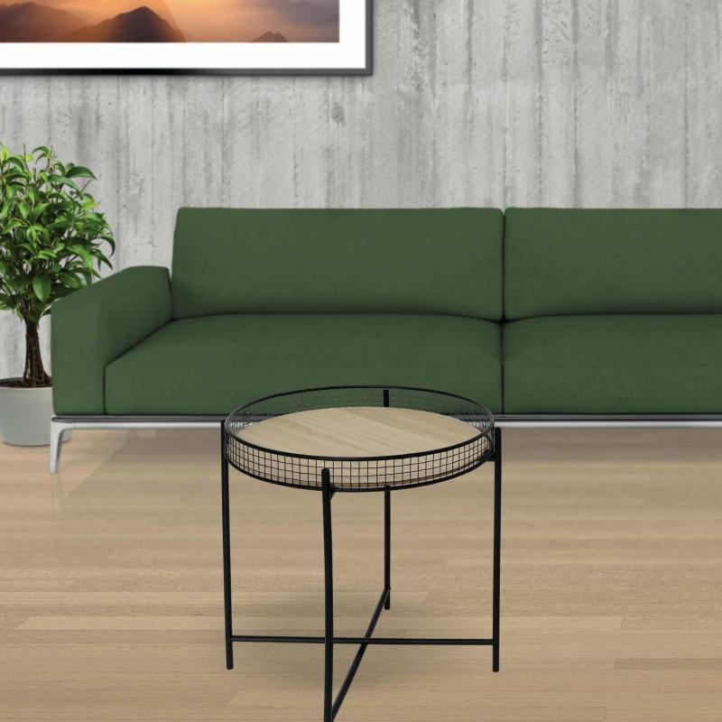 MORLI Table d'appoint en bois et métal d47cm