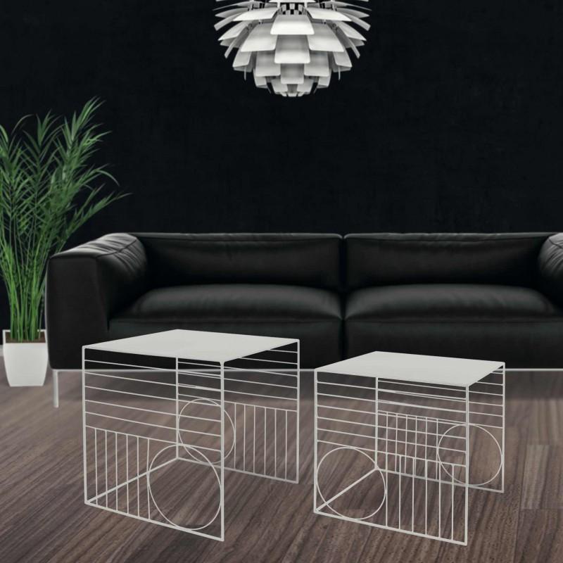 Set of 2 white metal nesting tables