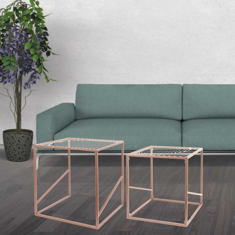 Set of 2 metal nesting tables PQ7613C