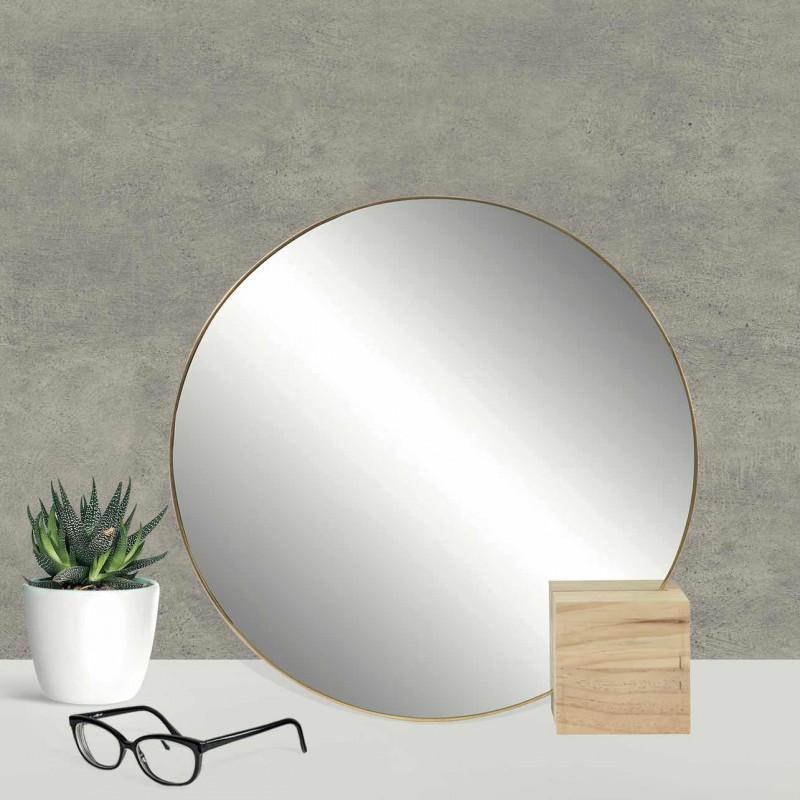 Round mirror with wooden support