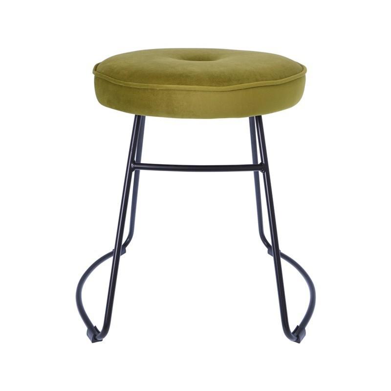 Stool with velvet upholstered seat