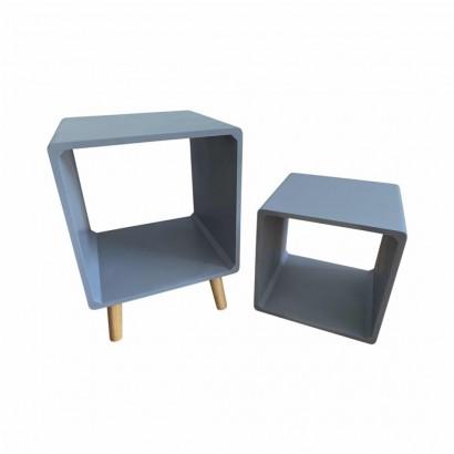Side table + wooden shelf Blue