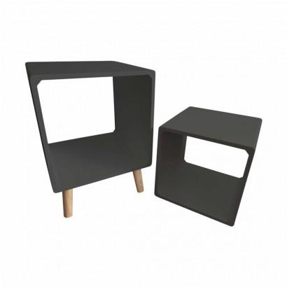 Side table + Grey wooden shelf