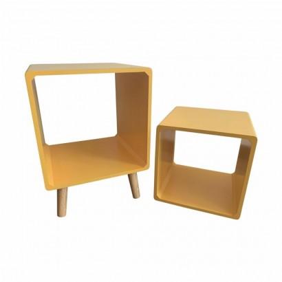 Side table + Yellow wood shelf