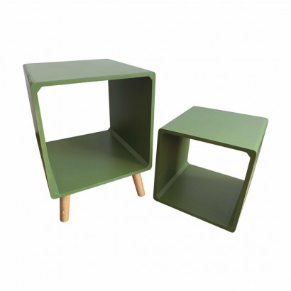 Side table + green wooden...