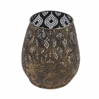 Vase en métal noir et or