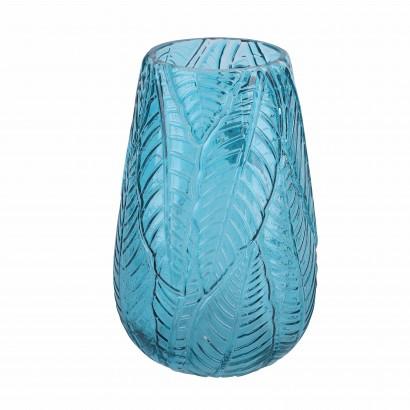 Vase en verre transparent bleu