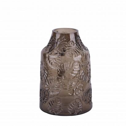 Vase en verre transparent brun