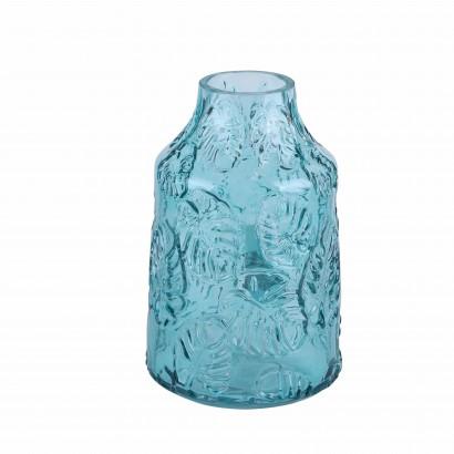 Vase en verre bleu transparent