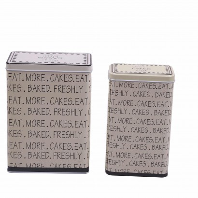 Set of 2 tins beige and white