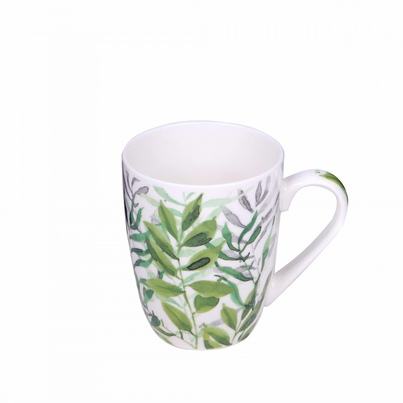 White mug with different prints