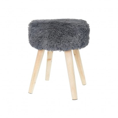 Fabric stool SHAGGY D36xH46CM DARK GRAY