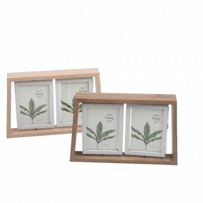 Double cadre photo en bois
