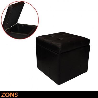 Brown box stool - Noir