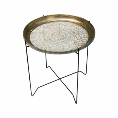 Side table with black metal...