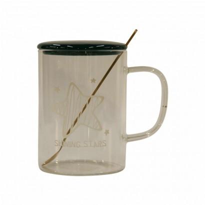 Glass Mug with Ceramic Spoon