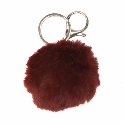 Porte clés rond en fourrure