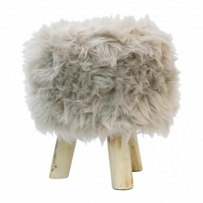 Stool footstool fur long pile