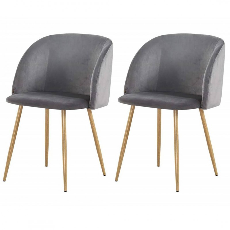 Lot De 2 Chaises Macaron Scandinaves en velours HELSINKI