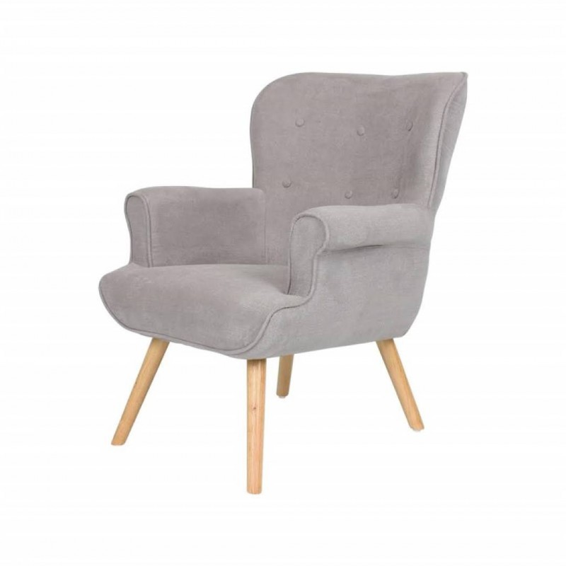 Fabric Armchair with Wooden Legs DANIO