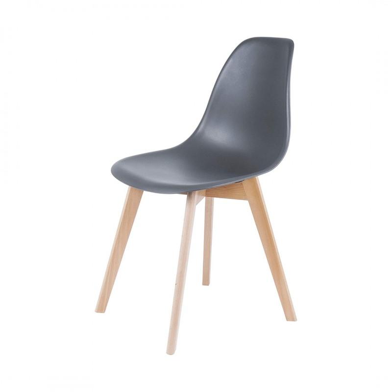SACHA Chaise pieds en Hévéa - Gris - L 46 x P 53 x H 82