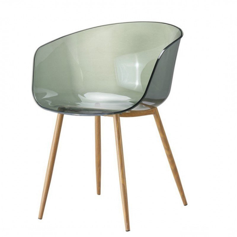 Chaise à accoudoirs type scandinave assise transparente